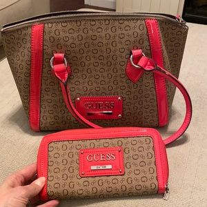 Guess satchel and wallet set